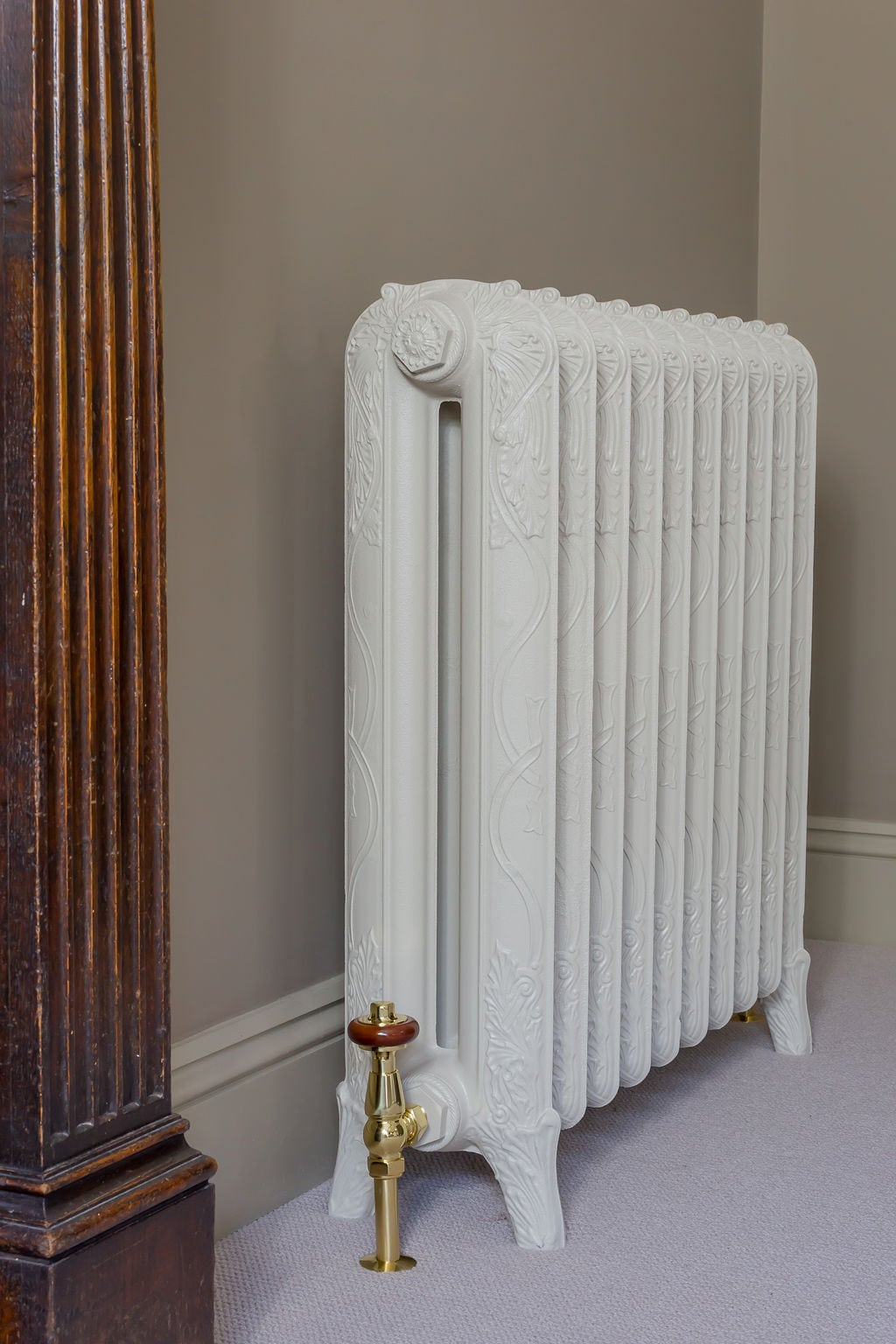 Grey Green Cast Iron Radiator End-On